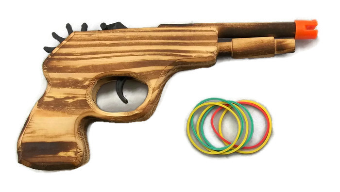 ''Gun - 9'''' Wooden with RUBBER BANDS''