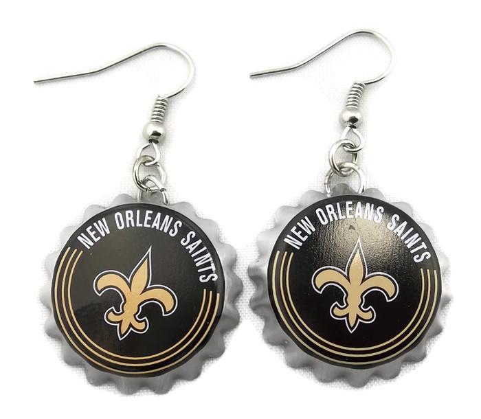 NFL New Orleans SAINTS Earrings - Bottle Cap