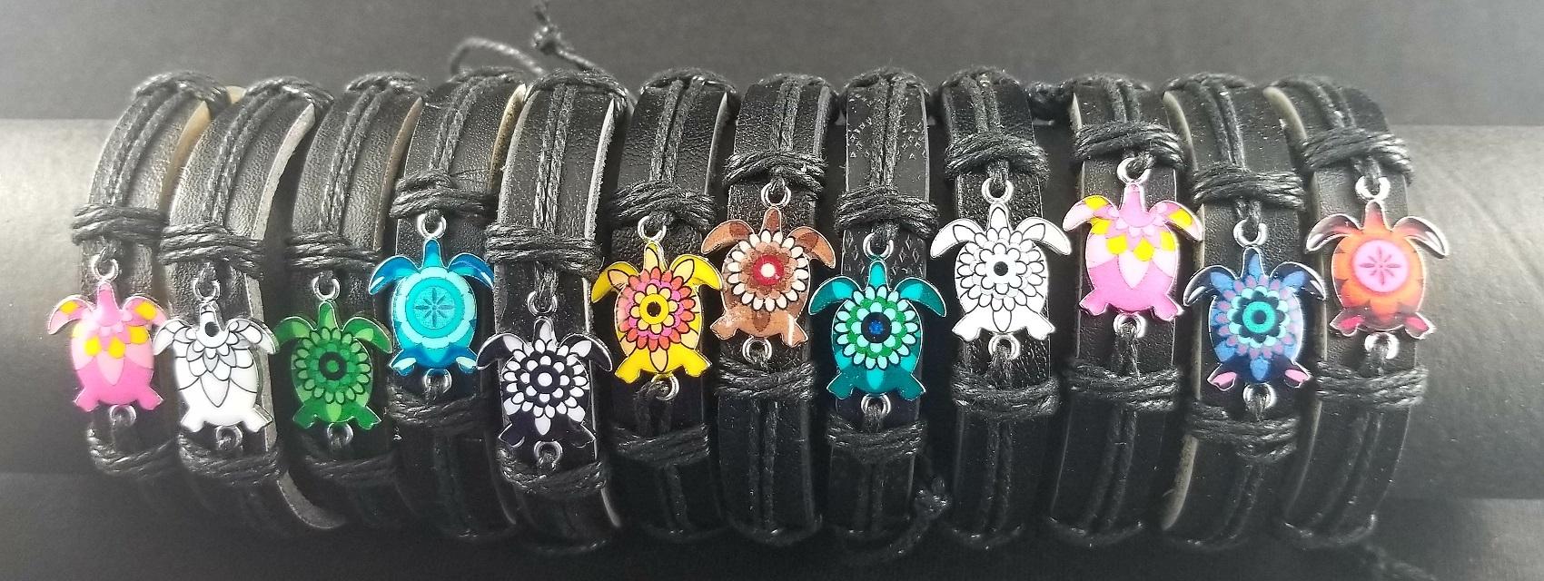 Fashion - Jewelry - Turtle Leather Band BRACELETs YBT-2784 (SOLD BY THE DOZEN)