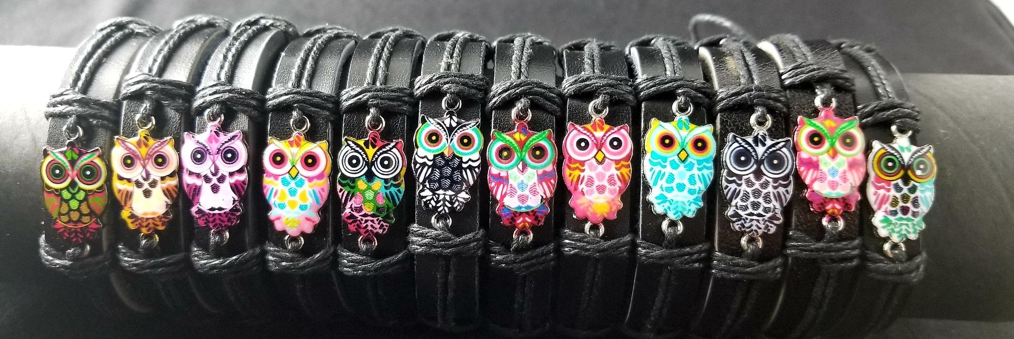 Fashion - Jewelry - Owl Leather Band BRACELETs YBT-2786 (SOLD BY THE DOZEN)