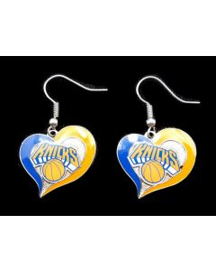 NBA New York Knicks Earrings Heart Swirl