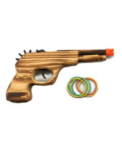 "Gun - 9"" Wooden with Rubber Bands"