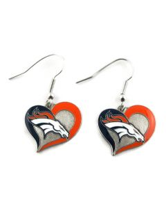 NFL Denver Broncos Earrings Heart Swirl
