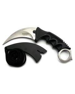 "Knife 6752 Hunt Neck - 7.5"" Black Karambit Hunting Knife with Sheath"