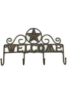 Texas Decor - Metal Hanging Hooks - Welcome Star - A15103