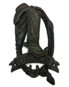 Texas Decor - Cast Iron Boot Door Knocker Welcome Sign - 56436