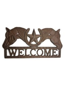 Texas Decor - Cast Iron Horse and Star Welcome Sign - 56625