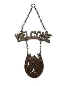 Texas Decor - Cast Iron Horse Welcome Sign - 56624