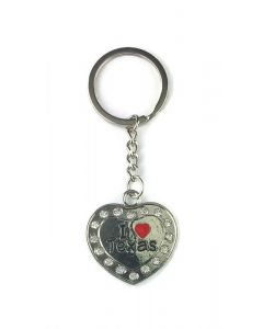 Keychain (KC) 66438 Texas Heart Bling - SOLD BY THE DOZEN ONLY