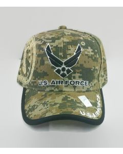 United States Air Force Wings Hat Seal on Side - AF2 Digital Camo with Black