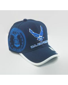 United States Air Force Wings Military Hat with Seal on Side - Navy Blue with Royal Blue AF3