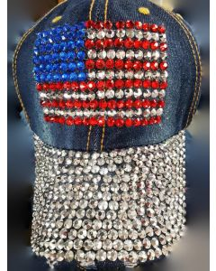 Rhinestone Hat - USA Flag - 18474