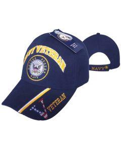 NAVY HAT VET SEAL BLUE W/VETERAN CAP592B