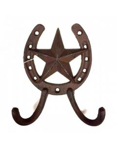 Texas Decor - Cast Iron Star Horseshoe Hook 56686