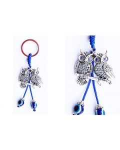 KC (Keychain) 68301 Two Owl Blue Stones SOLD BY THE DOZEN