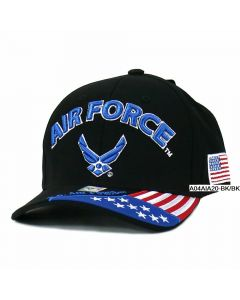 United States Air Force Hat- ''AIR FORCE'' Wing, Flag Bill A04AIA20-BK/BK