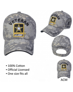 United States Army VETERAN Hat with Army Star Logo - A04ARV01-ACM/BK