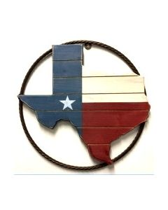 Texas Decor - Metal Rope with Texas Wood Map A17009