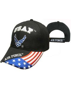 "United States Air Force Hat ""USAF"" Wings w/Flag Bill-BK CAP603GB"