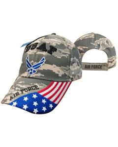 "United States Air Force Hat ""USAF"" Wings w/Flag Bill Digi Camo CAP603GC"
