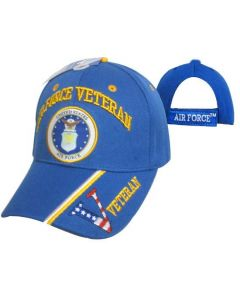 United Stated Air Force Veteran Hat w/Seal v/Flag Bill-RYL BL CAP593B