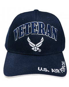 United States Air Force VETERAN Hat with Wings Logo - A04AIV01 Navy Blue