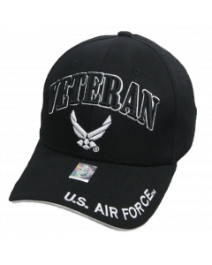 United States Air Force VETERAN Hat with Wings Logo BLK- A04AIV01 BLK/WHT.