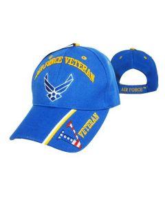 "United States Air Force Veteran Hat w/Wings ""V/Flag"" Royal BL CAP593BA"