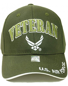 United States Air Force VETERAN Hat with Wings Logo Olv - A04AIV01 OLV/WHT