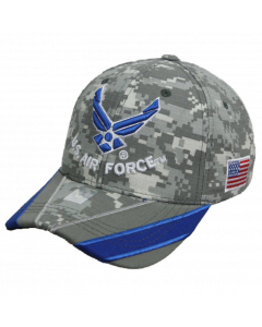 United States Air Force Wings Hat Blue/Grey Striped Bill - Digi A04AIA18-ACM