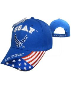 "United States Air Force Hat ""USAF"" Wings w/Flag Bill Royal BL CAP603GA"