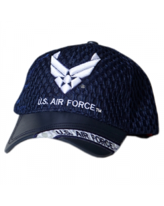 United States Air Force Military Hat w/Wings - Mesh/Faux Leather