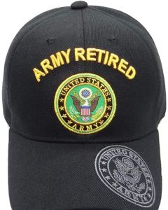 United States Army Hat- ''ARMY RETIRED'' (over) Seal-BK