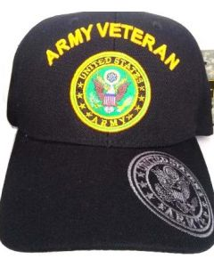 United States Army Hat- ''ARMY VETERAN'' (over) Seal-BK
