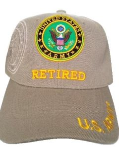 United States Army Hat- Retired (under) Seal-Khaki