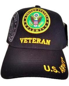 United States Army Hat- ''VETERAN'' (under) Seal-BK