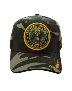 United States Army Hat With Seal Logo - Camouflage A03ARM02 CAM/BK