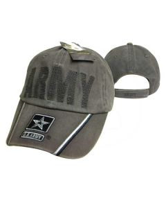 United States Army Hat BackStitch Embroid. w/Star Washed Cotton CAP595CMG