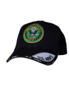 United States Army Hat with Embroidered Seal-2Tone Bill Black