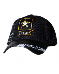United States Army Military Hat w/Star - Mesh/Faux Leather