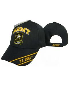 "United States Army Hat ""ARMY"" Star Logo Black w/Gold Text CAP601T"