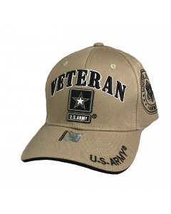United States Army VETERAN Hat with Army Star Logo and Seal (Side) - A04ARV03 KHK/BK