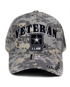 United States Army VETERAN Hat w/Army Star Logo & Seal(Side) - A04ARV03 Grey Star