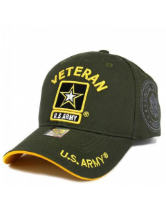United States Army VETERAN Hat with Star Logo - Olive A04ARV01 OLV/GLD