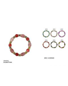 Bracelet - Glass BRC-43094D SOLD BY THE DOZEN