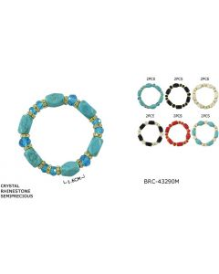 Bracelet - Turquoise BRC-43290M SOLD BY THE DOZEN