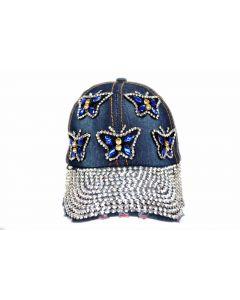 Cap - Rhinestone - 18483 Blue Butterflies