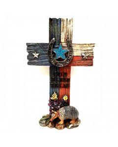 Texas Decor - Poly God Bless TX Standing Cross C60345