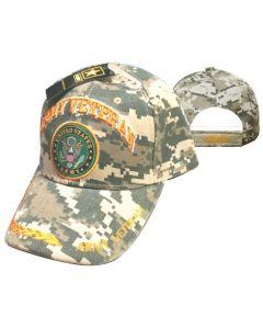 United States Army Hat- ''Army Veteran'' Seal/Leaf Bill Digital CAP591AC