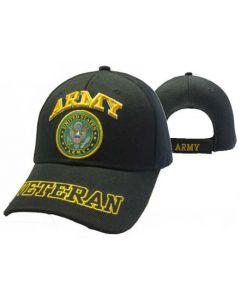"""United States """"ARMY"""" Hat w/Seal """"VETERAN"""" Bill-BK CAP591DA"""